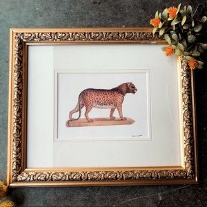 Signed original leopard print in gold frame